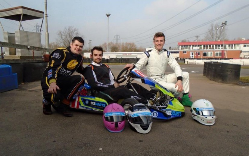 Team Karting Magazine in their debut race sponsored by Biz. Lee Henderson (Left) Luke Cousins (Middle) Piers Prior (Right)