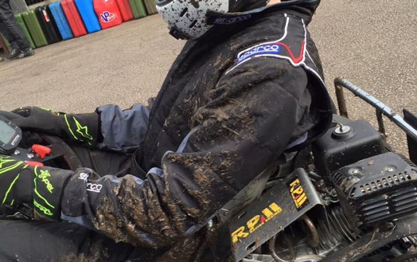 Despite the dry track Pelam Racing (40) were the first prokart team to find an alternative line which ensured their sparkling clean kart was covered in mud, including their driver.