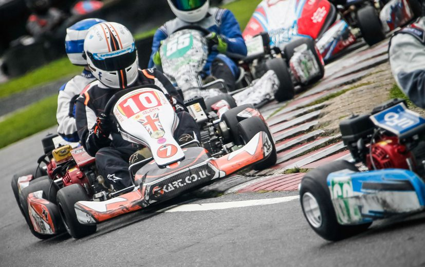 Luke Cousins, Team Karting Magazine, involved in a incident at Pylon